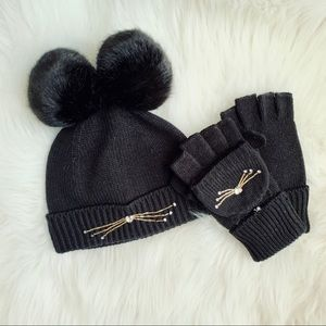 NWT kate spade Embellished Cat Benie Hat Mittens
